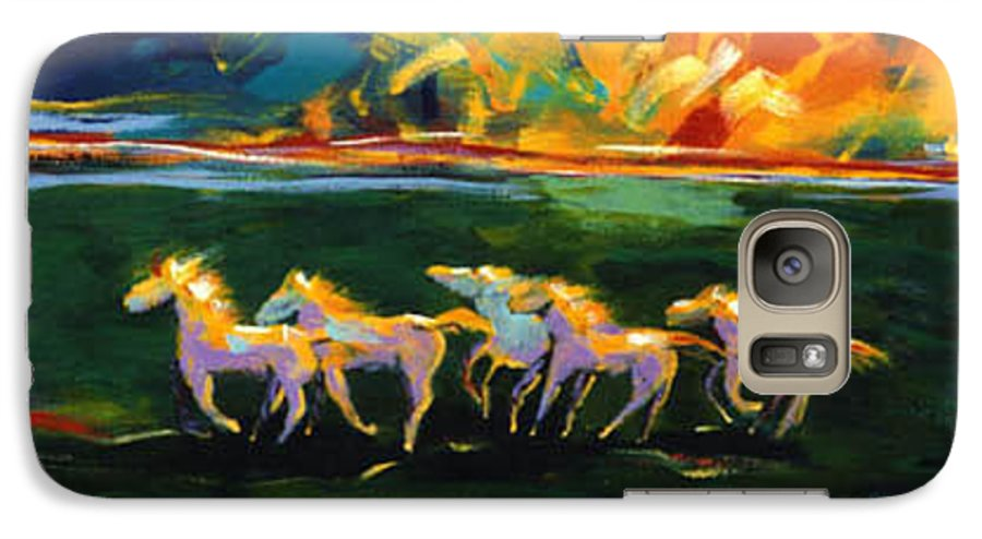 Abstract Horse Galaxy S7 Case featuring the painting Run From The Sun by Lance Headlee