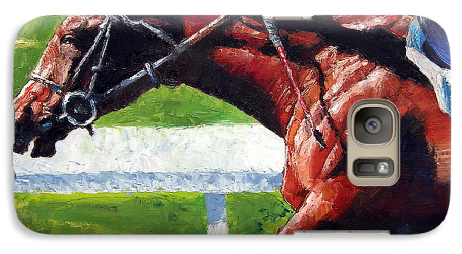 Horse Race Galaxy S7 Case featuring the painting Running Towards The Light by John Lautermilch