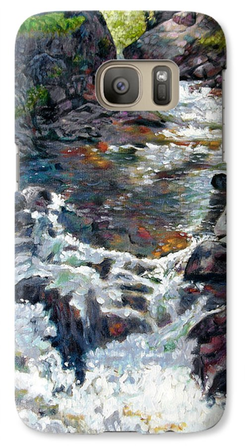 A Fast Moving Stream In Colorado Rocky Mountains Galaxy S7 Case featuring the painting Rushing Waters by John Lautermilch