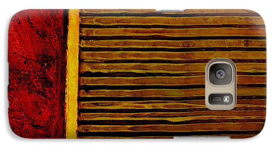 Rustic Galaxy S7 Case featuring the painting Rustic Abstract One by Michelle Calkins