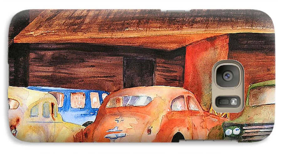 Car Galaxy S7 Case featuring the painting Rusting by Karen Stark