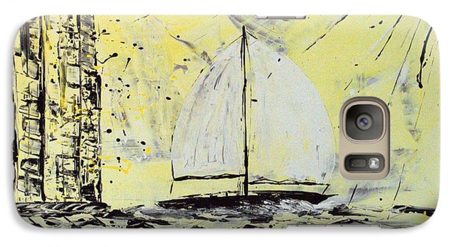 Abstract Galaxy S7 Case featuring the painting Sail And Sunrays by J R Seymour