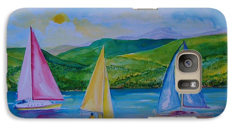 Sailboats Galaxy S7 Case featuring the painting Sailboats by Laura Rispoli