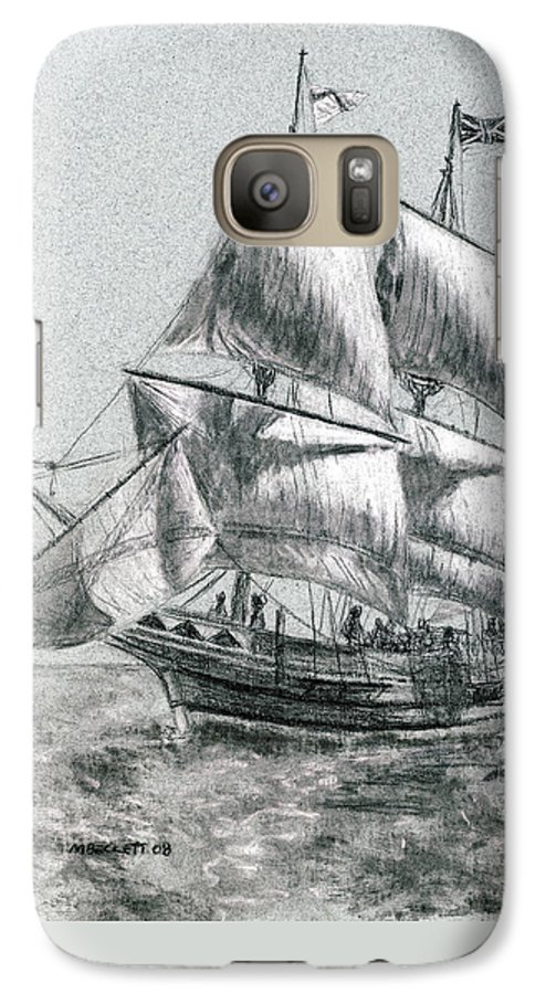 Seascape Galaxy S7 Case featuring the drawing Sailing by Michael Beckett