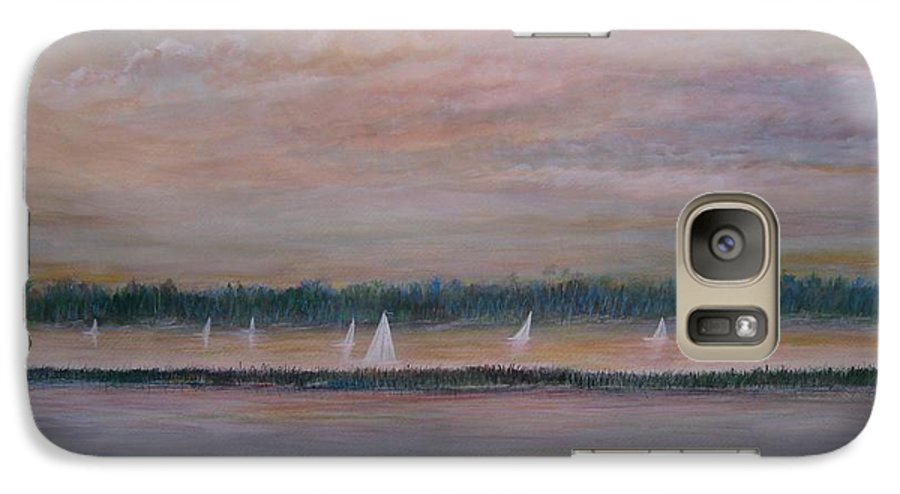 Sailboats; Marsh; Sunset Galaxy S7 Case featuring the painting Sails In The Sunset by Ben Kiger