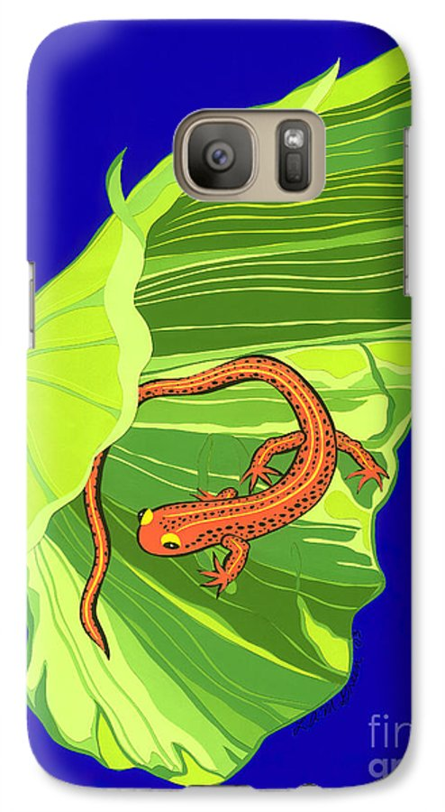 Nature Galaxy S7 Case featuring the drawing Salamander by Lucyna A M Green