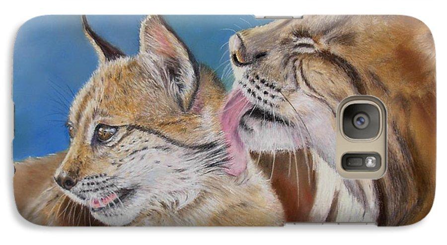 Iberian Lynx Galaxy S7 Case featuring the painting Saliega Y Brezo by Ceci Watson