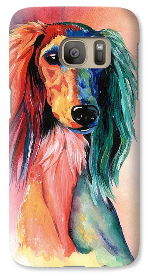 Saluki Galaxy S7 Case featuring the painting Saluki Sunset by Kathleen Sepulveda