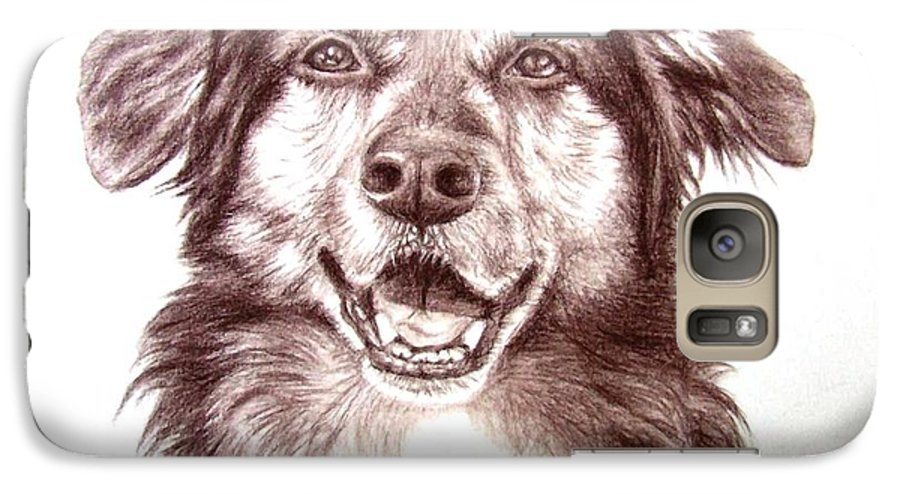 Dog Galaxy S7 Case featuring the drawing Sam by Nicole Zeug