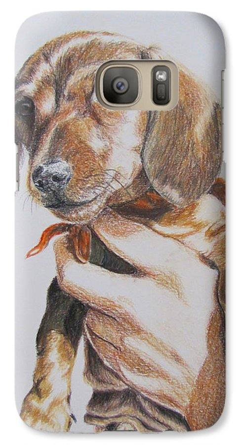 Puppy Galaxy S7 Case featuring the drawing Sambo by Karen Ilari