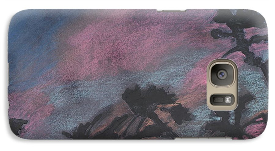 Contemporary Tree Landscapes Galaxy S7 Case featuring the drawing San Diego Palms by Leah Tomaino