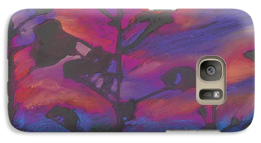 Contemporary Tree Landscape Galaxy S7 Case featuring the mixed media San Diego Sunset by Leah Tomaino