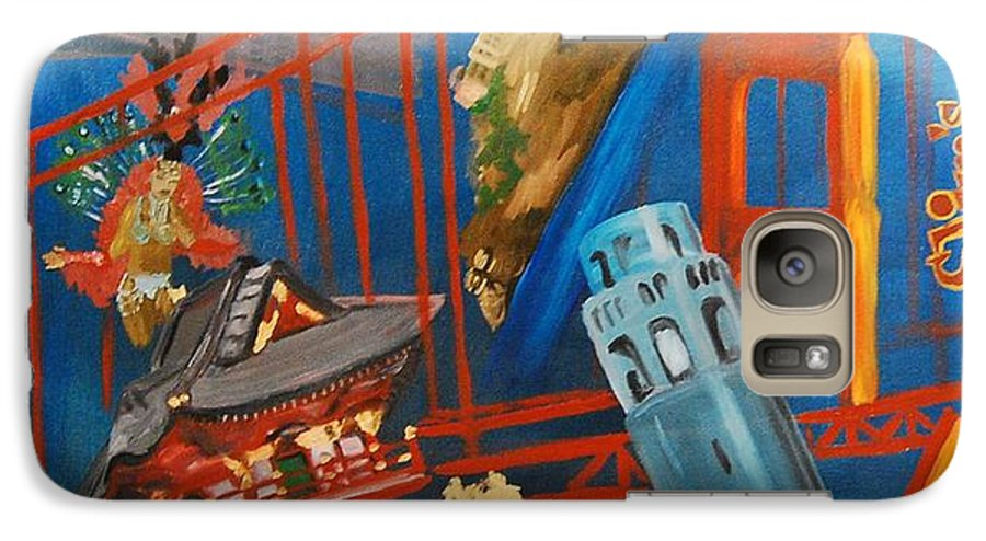 Golden Gate Bridge Galaxy S7 Case featuring the painting San Fran by Lauren Luna
