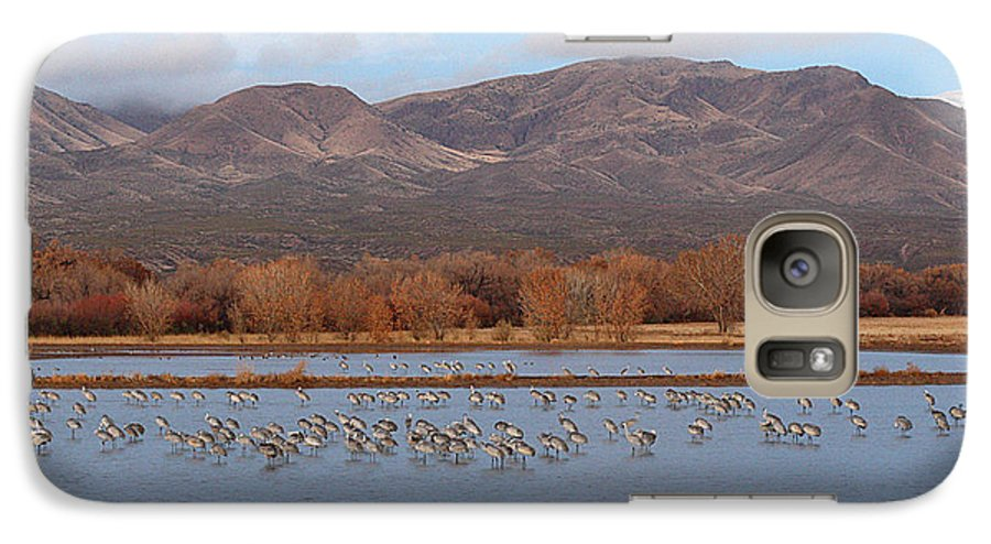 Sandhill Crane Galaxy S7 Case featuring the photograph Sandhill Cranes Beneath The Mountains Of New Mexico by Max Allen