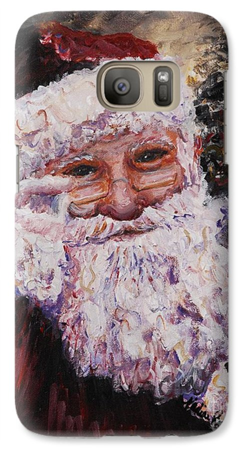 Santa Galaxy S7 Case featuring the painting Santa Chat by Nadine Rippelmeyer
