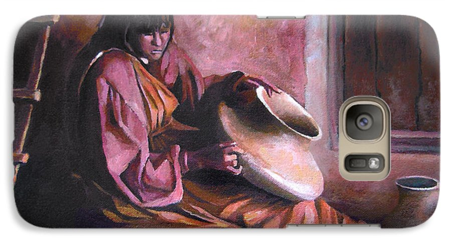 Native American Galaxy S7 Case featuring the painting Santa Clara Potter by Nancy Griswold