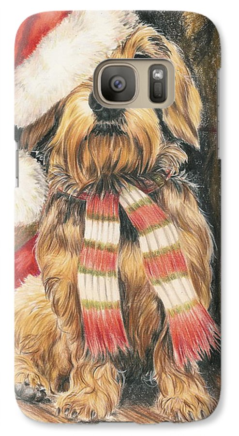 Hound Group Galaxy S7 Case featuring the drawing Santas Little Yelper by Barbara Keith