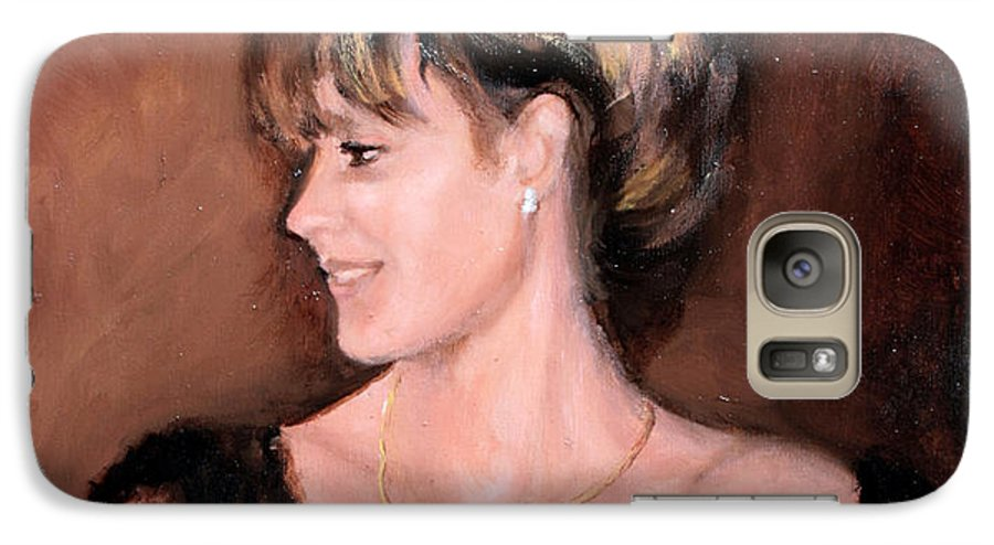 Portrait Galaxy S7 Case featuring the painting Sara by Mario Zampedroni