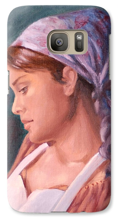 Maid Galaxy S7 Case featuring the painting Sarah The Kitchen Maid After Johnnie Liliedahl by Quwatha Valentine