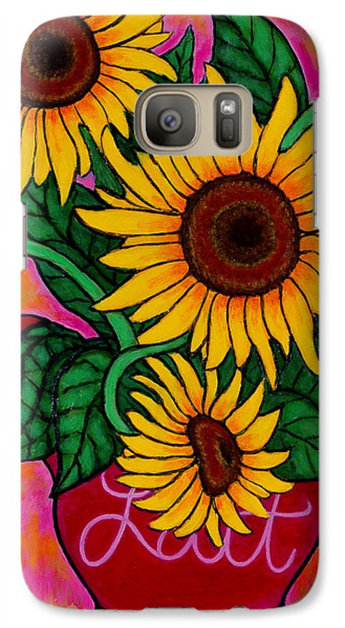 Sunflowers Galaxy S7 Case featuring the painting Saturday Morning Sunflowers by Lisa Lorenz