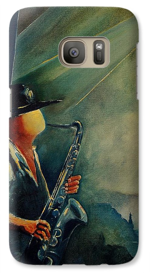 Music Galaxy S7 Case featuring the painting Sax Player by Pol Ledent