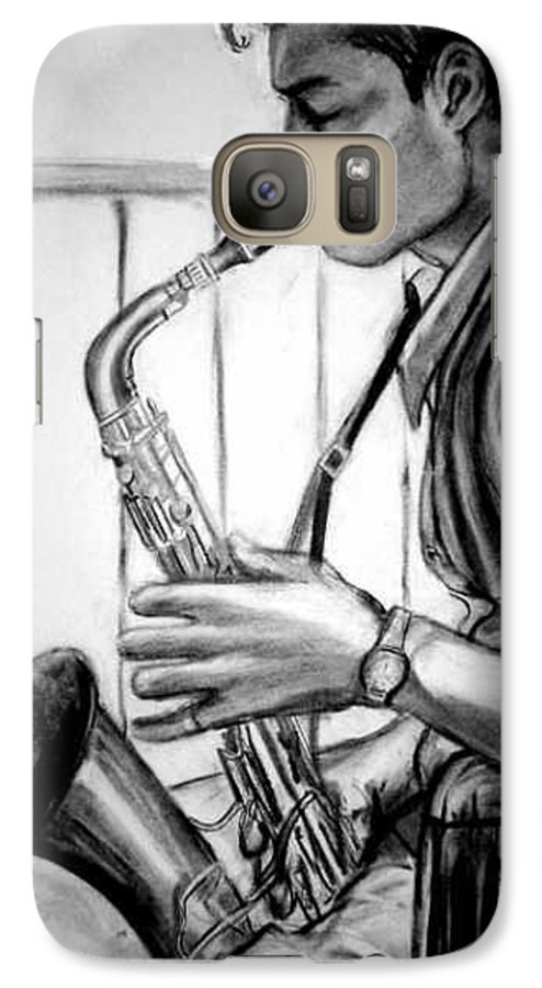 Handsome Man Galaxy S7 Case featuring the drawing Saxophone Player by Laura Rispoli