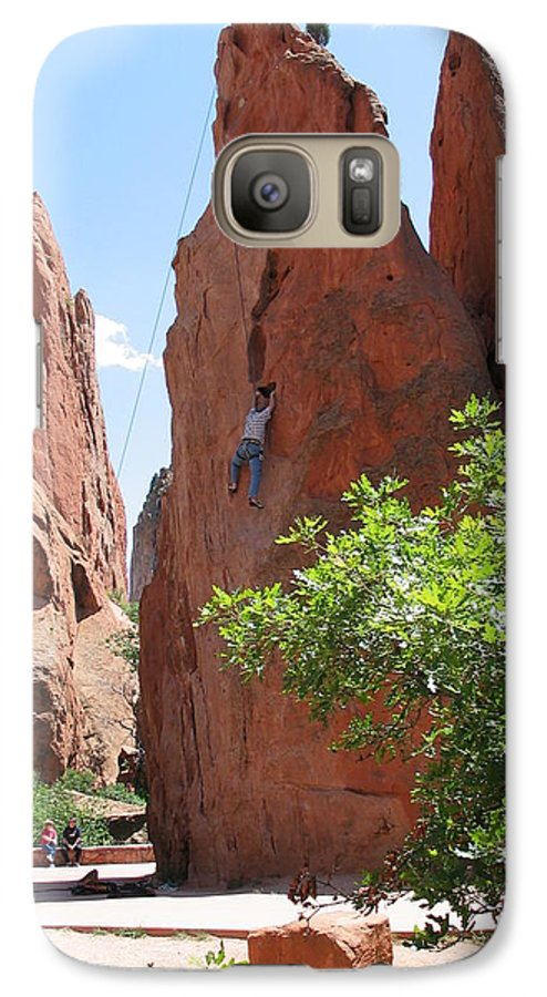 Red Rocks Galaxy S7 Case featuring the photograph Scaling Red Rocks by Margaret Fortunato