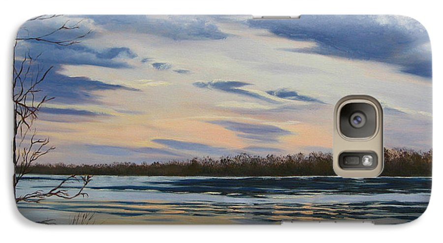 Clouds Galaxy S7 Case featuring the painting Scenic Overlook - Delaware River by Lea Novak
