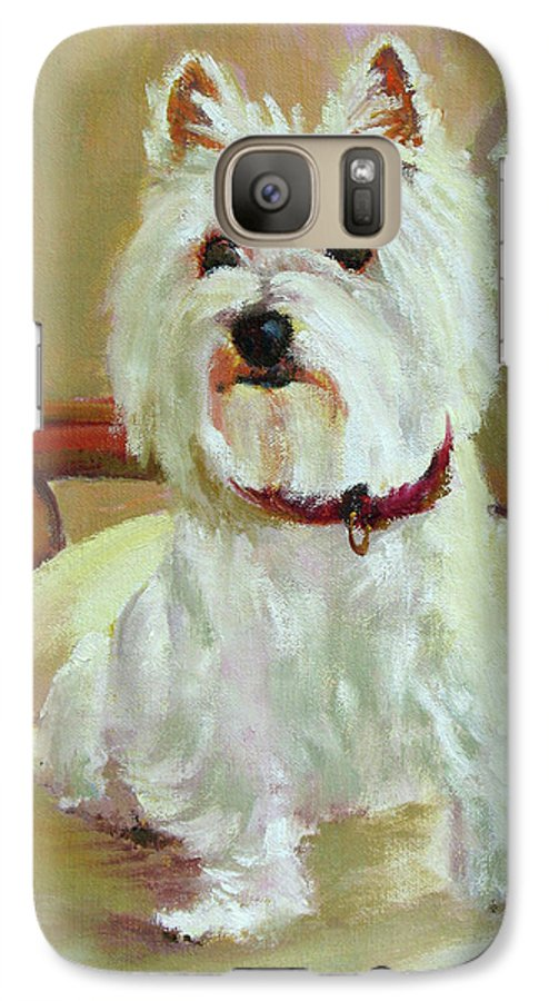 Pet Galaxy S7 Case featuring the painting Schatzie by Keith Burgess
