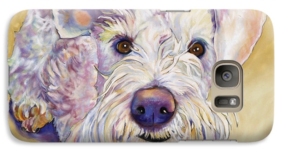 Schnauzer Galaxy S7 Case featuring the pastel Scooter by Pat Saunders-White