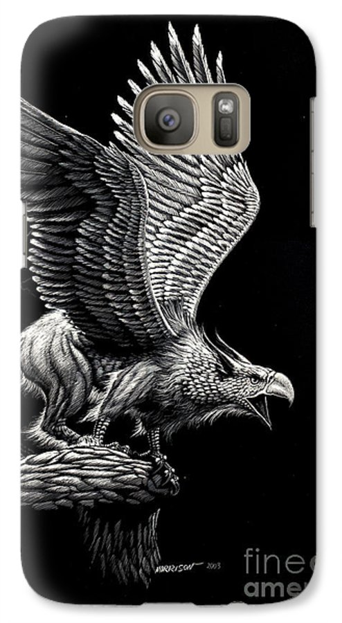 Griffon Galaxy S7 Case featuring the drawing Screaming Griffon by Stanley Morrison
