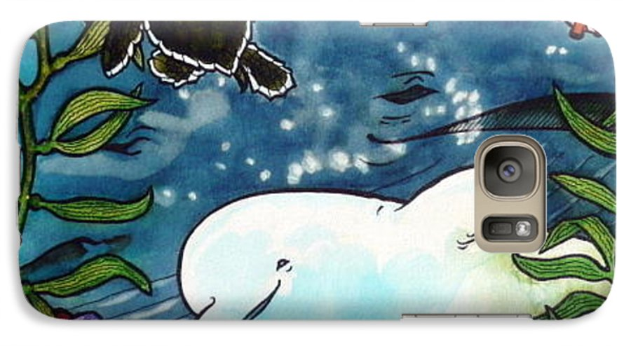 Whale Galaxy S7 Case featuring the painting Sea Fun by Jill Iversen