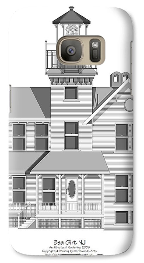 Lighthouse Galaxy S7 Case featuring the painting Sea Girt New Jersey Architectural Drawing by Anne Norskog