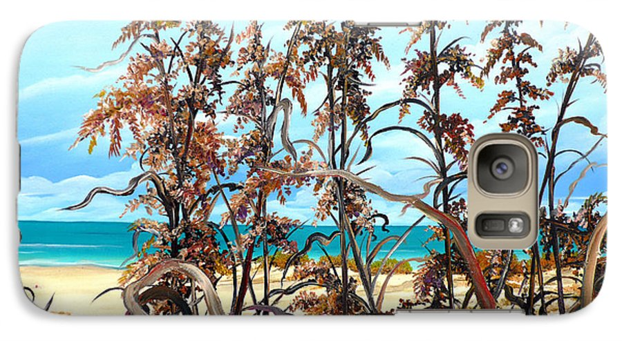 Ocean Painting Sea Oats Painting Beach Painting Seascape Painting Beach Painting Florida Painting Greeting Card Painting Galaxy S7 Case featuring the painting Sea Oats by Karin Dawn Kelshall- Best