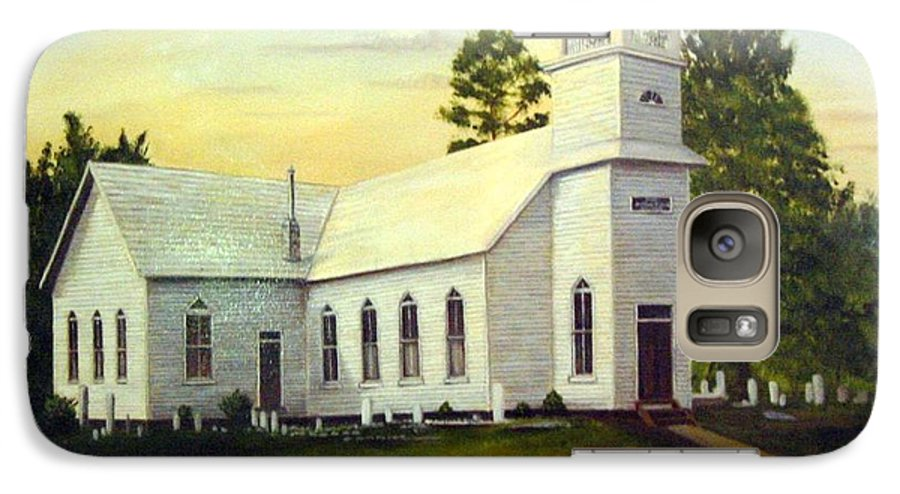 Church Galaxy S7 Case featuring the painting Seaford Zion Methodist Church by Anne Kushnick
