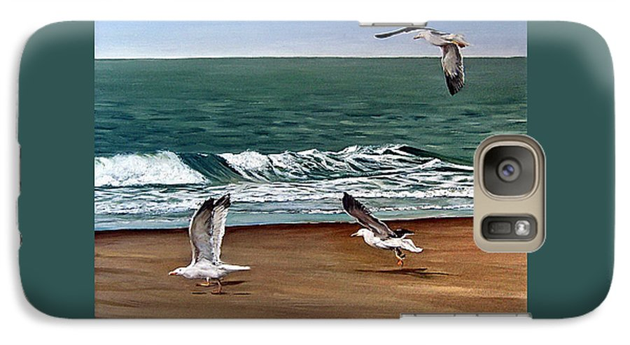 Seascape Galaxy S7 Case featuring the painting Seagulls 2 by Natalia Tejera