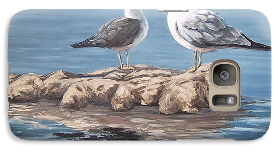 Seagulls Sea Seascape Water Bird Galaxy S7 Case featuring the painting Seagulls In The Sea by Natalia Tejera