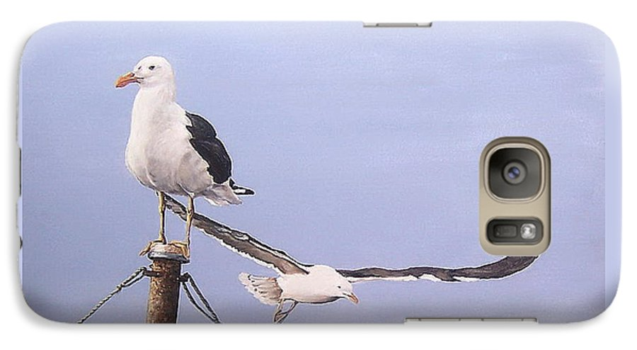 Seascape Gulls Bird Sea Galaxy S7 Case featuring the painting Seagulls by Natalia Tejera