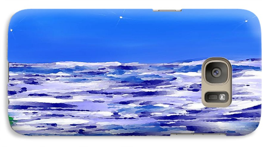 Sea.evening.night.silence.water.waves.deep Water.quiet .coast.sky.stars.calm.no Wind Galaxy S7 Case featuring the digital art Sea.moon Light by Dr Loifer Vladimir