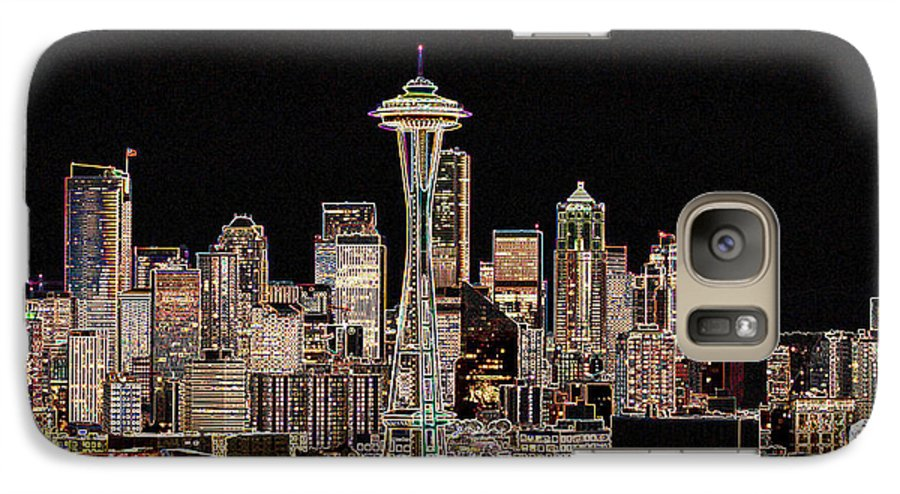 Colorful Galaxy S7 Case featuring the photograph Seattle A Glow by Larry Keahey