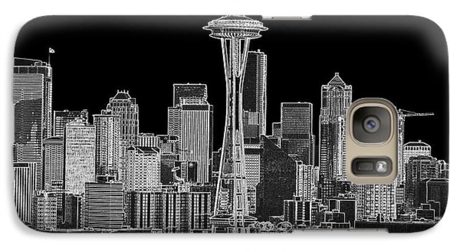 Black And White Galaxy S7 Case featuring the photograph Seattle Black And White by Larry Keahey