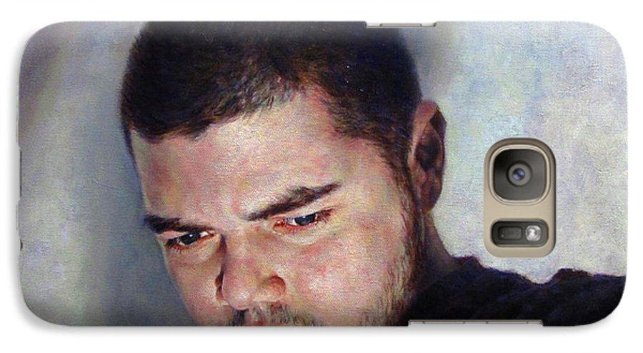 Self Galaxy S7 Case featuring the painting Self Portrait W Shadows by Joe Velez
