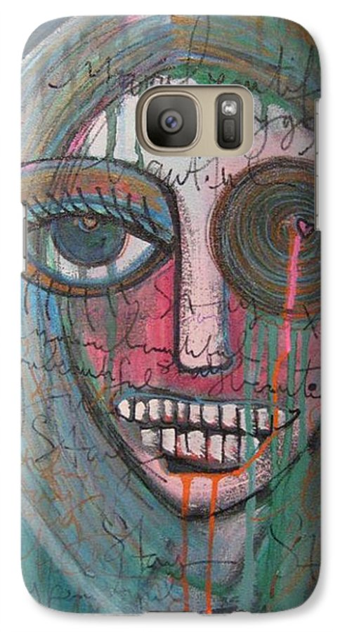 Self Portraits Galaxy S7 Case featuring the painting Self Portrait Youre Beautiful by Laurie Maves ART