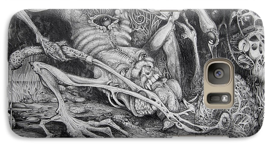 Surrealism Galaxy S7 Case featuring the drawing Selfpropelled Beastie Seeder by Otto Rapp