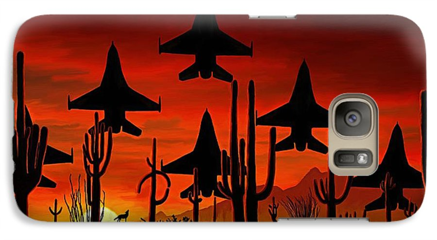 Fine Art Galaxy S7 Case featuring the painting Sentinels by David Wagner