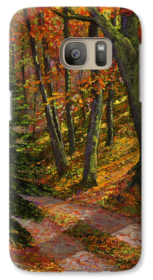 Road In The Woods Galaxy S7 Case featuring the painting September Road by Frank Wilson