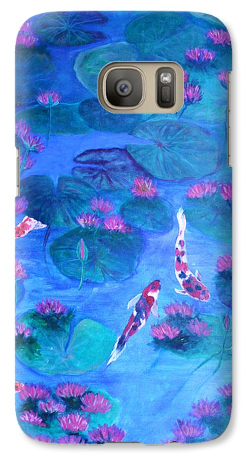 Lily Pads Galaxy S7 Case featuring the painting Serene Pond by Ben Kiger
