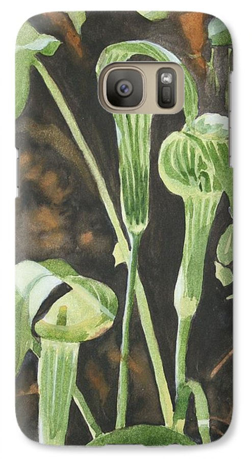 Woods Galaxy S7 Case featuring the painting Sermon In The Woods by Jean Blackmer