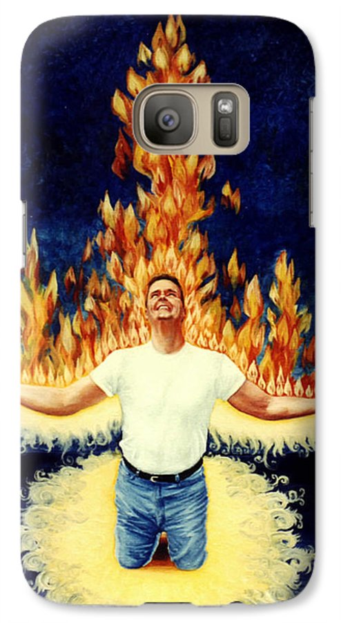 Holy Spirit Fire Galaxy S7 Case featuring the painting Set Aflame by Teresa Carter