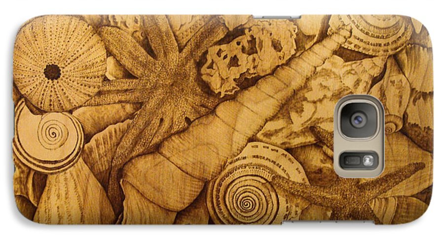 Pyrography; Sepia; Shells; Sea Shells; Starfish; Ocean; Sea; Underwater; Sea Life; Galaxy S7 Case featuring the pyrography Settled by Jo Schwartz